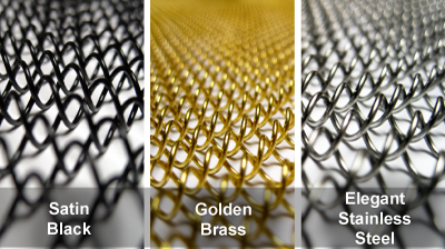 graphic showing black, brass, and stainless steel mesh screens with types labeled