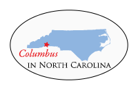 white oval logo with blue outline of state of North Carolina that reads: make in Columbus, North Carolina